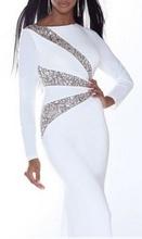 Duga bela haljina sa detaljima od cirkona