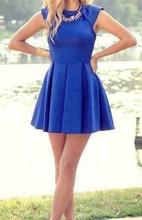 Kraljevsko plava haljina sa faltama