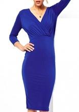 Kraljevsko plava haljina na preklop