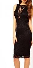 Crna cipkasta haljina sa v- izrezom