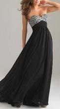 Crna duga haljina sa cirkonima i muslinom