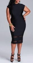 Crna haljina ispod kolena sa mrežicom