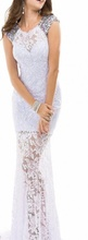 Duga bela haljina sa cirkonima na ramenima