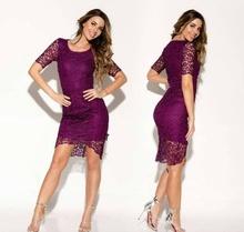 Ljubicasto ciklama cipkasta haljina
