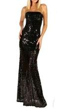 Duga crna haljina sa diskicima