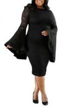 Duga crna haljina sa zvonastim rukavima za punije zene