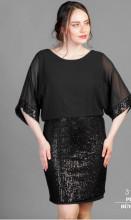 Crna sljokicava haljina sa muslinom za punije zene
