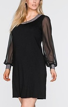 Crna haljina sa rukavima od muslina sa detaljima od cirkona