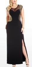 Crna haljina za punije dame sa zlatnim detaljima