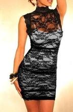 Crno bela cipkasta haljina sa rolkom