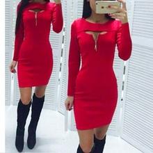 Dnevna crvena haljina sa rajfeslusem