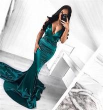 Duga zelena sirena haljina
