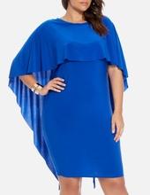 Kraljevsko plava haljina sa karnerom ogrtacem