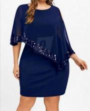 Teget haljina sa sljokicama i muslinom