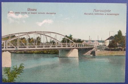 1935 - Ocna Mureș, pod peste Mures, fabrica ceramica (jud. Alba)