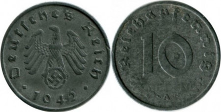 Germania 1942A - 10 reichspfennig, circulata