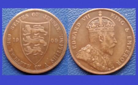 Jersey 1909 - 1/12 shilling, circulata