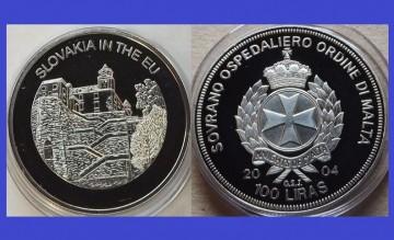 Malta 2004 - 100 lire, proof - Slovacia in UE