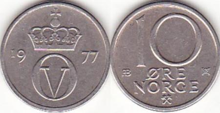 Norvegia 1977 - 10 ore, circulata