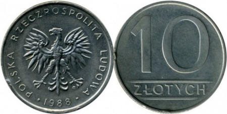 Polonia 1988 - 10 zloty, circulata