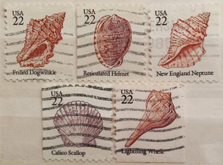 Statele Unite 1985 - scoici, serie stampilata