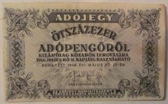 Ungaria 1946 - 500.000 adopengo, circulata - fara serie