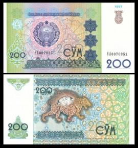 Uzbekistan 1997 - 200 som, necirculata