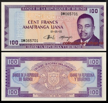 Burundi 1993 - 100 francs, necirculata