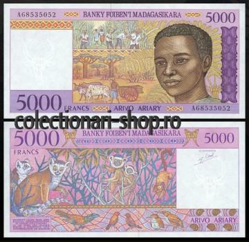 Madagascar 1995 -  5000 francs, necirculata