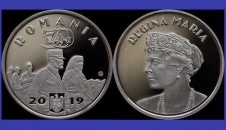 Poze Romania 2019 - 50 bani, regina Maria, Proof