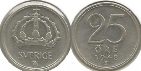 Suedia 1948 - 25 ore, argint
