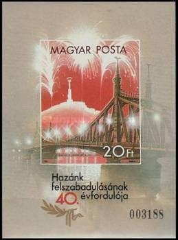 Ungaria 1985 - 40 de ani Independenta, colita neuzata