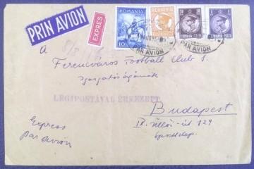 z1933 - plic trimis din Bucuresti la clubul de fotbal FTC Ferencvaros, Budapesta
