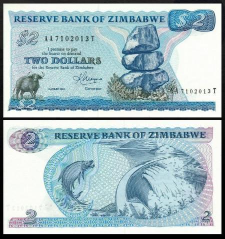 Zimbabwe 1983 - 2 dollars, necirculata