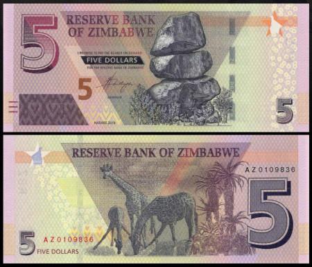 Zimbabwe 2019 - 5 dollars, necirculata