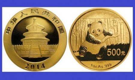 China 2014 - 500 yuan, moneda cu panda, aurit