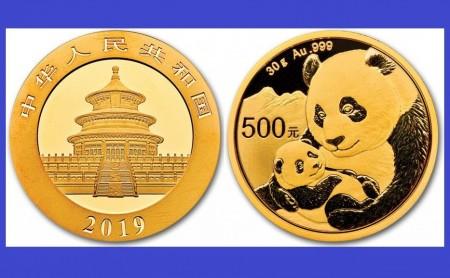 China 2019 - 500 yuan, moneda cu panda, aurit