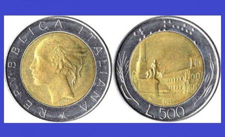 Italia 1985 - 500 lire, circulata