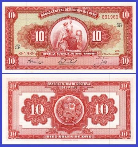 Peru 1966 - 10 soles, necirculata
