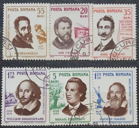 Romania 1964 - Aniversări culturale, serie stampilata