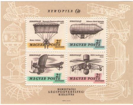 Ungaria 1967 - expo Posta Aeriana, bloc neuzat