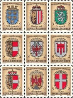 Austria 1975 - stemele (judetelor) statelor federale , serie neuzata
