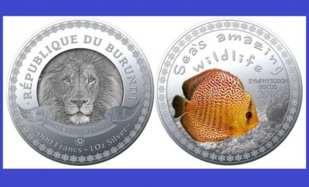 Burundi 2014 - 5000 francs, proof (Symphysodon discus)
