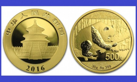 China 2016 - 500 yuan, moneda cu panda, aurit