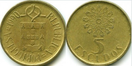 Portugalia 1990 - 5 escudos, circulata