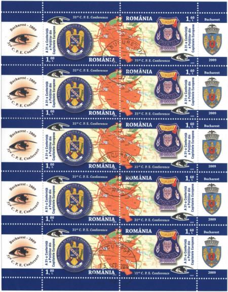 Romania 2009 - 31-a Conferință a Polițiilor din capitalele europene, bloc stampilat