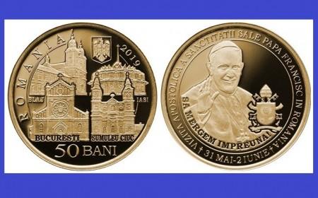 Romania 2019 - 50 bani, vizita Papei Francisc, UNC