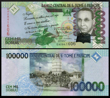 Sao Tome 2013 - 100.000 dobras, necirculata