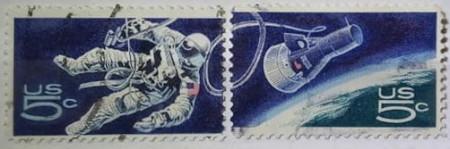 Statele Unite 1967 - primul american in spatiu, serie stampilata