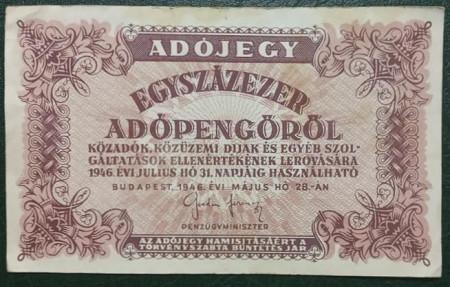 Ungaria 1946 - 100.000 adopengo, circulata - fara serie